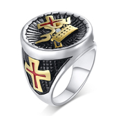 《 QBOX 》FASHION 飾品【RRC-437】精緻個性王者十字架皇冠鈦鋼戒指/戒環