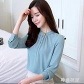 中大尺碼雪紡上衣2018新款韓版寬鬆長袖t恤女zzy5343『時尚玩家』