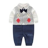 領結格子紳士長袖包屁衣 連體衣 爬爬服 嬰兒裝 兔裝 哈衣