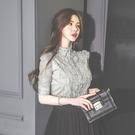 歐媛韓版 襯衣女設計感小眾上衣新款女氣質蕾絲邊洋氣短袖韓國襯衫 女夏