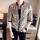 FINDSENSE品牌 男 時尚 潮 薄款 金色紋理 七分袖 中袖 防曬衣 拉鏈