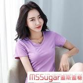 莫代爾棉 2020夏韓范新款V領莫代爾棉短袖修身顯瘦t恤女輕薄高彈大