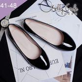 大尺碼女鞋-凱莉密碼-素面簡約清爽風漆皮百搭圓頭平底鞋1cm(41-48)【HO28-5】黑色