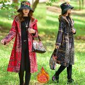 實拍民族風外套年秋冬新款文藝復古加絨加厚連帽棉麻修身棉衣洋裝 週年慶降價