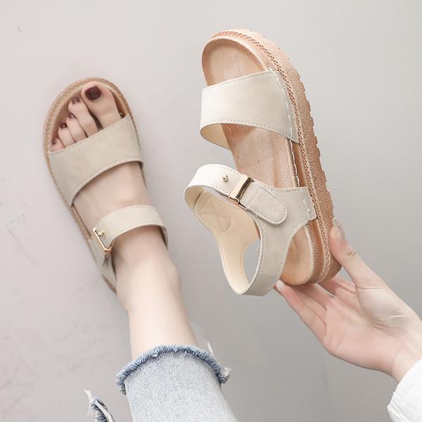 網紅涼鞋女2020夏季新款露趾沙灘鞋港風平底學生百搭厚底鬆糕女鞋