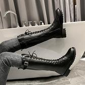 長筒靴女新款秋款系帶高筒馬丁女靴不過膝長靴小個子騎士靴子 歐韓流行館