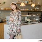 《MA0106》繽紛印花腰圍抓皺質感洋裝--適 XL~5L OrangeBear