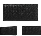 【橘子包包館】Crocodile 鱷魚 編織系列 真皮 13卡相片零錢袋 男用長夾 0103-60011 黑色