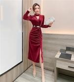 洋裝禮服2020秋冬新款時尚氣質網紅V領顯瘦開叉包臀禮服亮絲連身裙女T647-A.1號公館