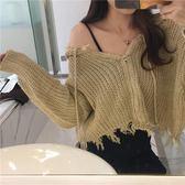 秋裝女2018新款復古溫柔顯瘦連帽拉鏈外套短款流蘇破洞毛衣開衫