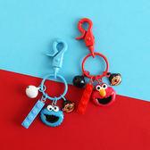芝麻街鑰匙扣女韓國可愛卡通紅色艾摩毛絨公仔書包掛飾包包掛件 年貨慶典 限時鉅惠