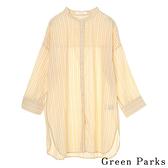 「Summer」條紋圓領開叉襯衫上衣 - Green Parks