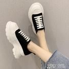厚底鞋 帆布厚底小白鞋女季新款韓版增高鬆糕系帶休閒運動老爹鞋潮 夏季新品