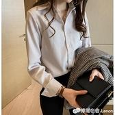 條紋襯衫女新款長袖寬鬆韓版打底衫百搭上衣秋胖妹妹大碼襯衣