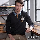 【JEEP】經典美式撞色領徽章長袖POLO衫 (黑)