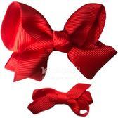 Cutie Bella 手工蝴蝶結髮夾 羅紋緞帶 全包布 中小款二入套組-Red