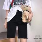牛仔褲五分褲女秋緊身騎行褲顯瘦中褲高腰短褲【時尚大衣櫥】