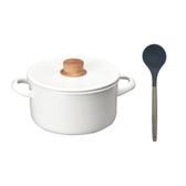 (組)琺瑯雙耳湯鍋20cm+湯勺