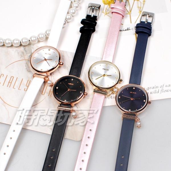 KEZZI珂紫 優雅造型珍珠美鑽 皮革錶帶手錶 女錶 防水手錶 學生手錶 粉色x金 KE1893金粉