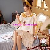 可愛大碼睡衣女夏季睡裙棉質短袖寬鬆長款學生可外穿【桃可可服飾】