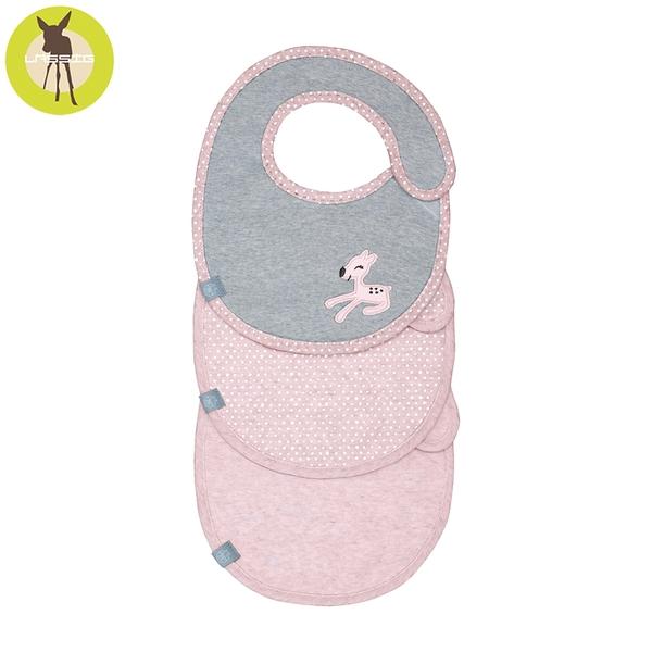 德國Lassig-寶寶雙層純棉防水圍兜3入-粉紅小鹿