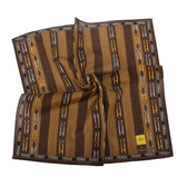 FENDI雙F鍊帶條紋純棉帕巾(咖啡色)989006-15