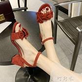粗跟涼鞋夏季新款ins百搭仙女風黑色時尚一字帶蝴蝶結高跟鞋 【618特惠】