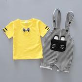 男嬰兒童裝衣服寶寶夏裝韓版夏季背帶褲套裝