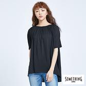 SOMETHING 造型抽皺寬版短袖T恤-女款 黑色