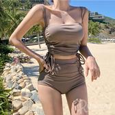 雙側邊抽繩 小可愛 細繩 高腰褲 二件式泳裝 可愛 無鋼圈 比基尼 泳衣