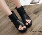 厚底涼鞋 羅馬鞋 露趾騎士風 短靴 裸靴 踝靴 楔型涼鞋 大尺碼35-40*Kwoomi-A71