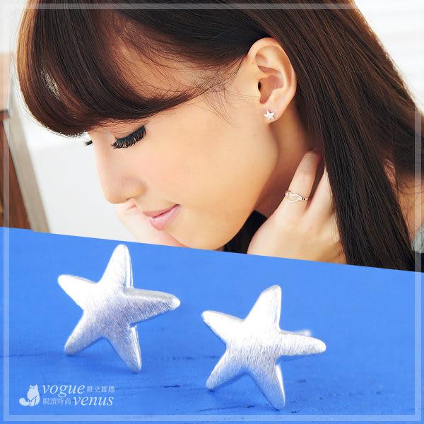 昂然星情 霧銀質感簡約星星造型耳環 925純銀耳環 維克維娜