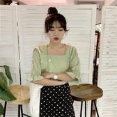 襯衫女短袖2020新款韓版綠色顯瘦半袖女時尚洋氣襯衣百搭方領上衣新年交換禮物