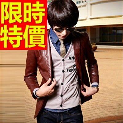男皮衣外套-特殊剪裁精美簡潔率性男西裝外套1色62i25【巴黎精品】