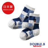 DOUBLE_B     日本製黑熊幾何圖形男童襪 (藏藍)