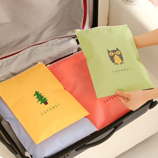 ◄ 生活家精品 ►【K140】配色圖案夾鏈袋 小 旅行 分類 衣物 整理袋 拉邊收納袋 整理 雜物 便攜