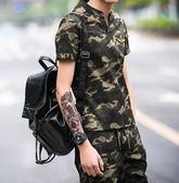 男士夏季新款軍訓迷彩短袖青年薄款兩件套yhs583【123休閒館】