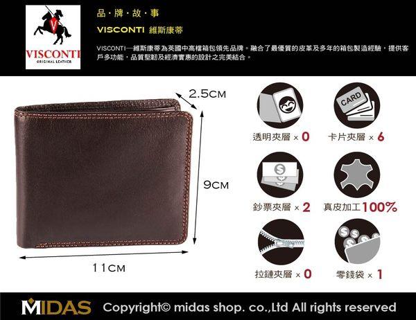 Visconti 男皮夾 零錢袋設計【進口現貨】知名英國皮件品牌 高級牛皮夾 男用 禮盒裝 咖啡色