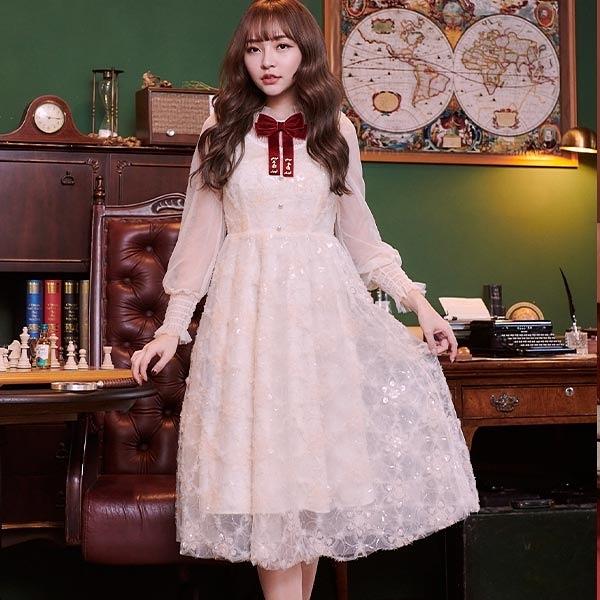 洋裝 閃亮刺繡網紗透膚長袖洋裝-Ruby s 露比午茶