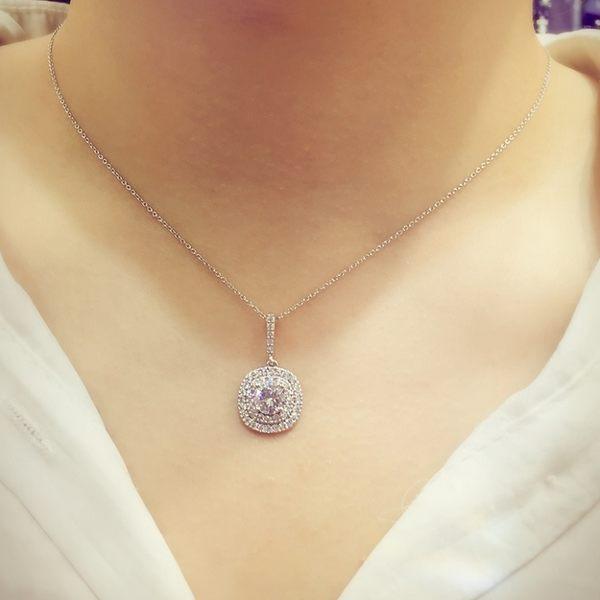 S925純銀閃亮方柔鋯石項鍊 時尚璀璨 (0538)