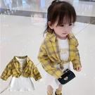*╮s13小衣衫童裝╭*女童秋款黃格子襯衫白長袖T裙二件式套裝1080945