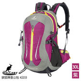 WALLABY 袋鼠牌 #2233-P 戶外旅行 登山包 雙肩包 尼龍 防水運動背包 紫色 30L