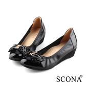 SCONA 蘇格南 全真皮 輕盈鑽飾楔型鞋 黑色 31012-1