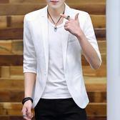 男士中袖小西裝條紋夏季薄款鏤空冰絲外套韓版修身理發型師西服 QQ1241『樂愛居家館』