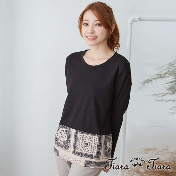 【Tiara Tiara】民俗風下襬拼接長袖上衣(駝/黑)