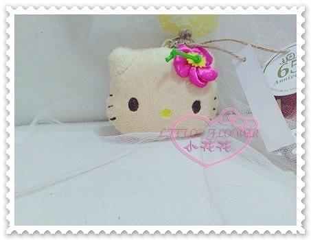 ♥小花花日本精品♥Hello Kitty 鑰匙圈鑰匙掛偶吊飾大臉造型花朵米色附吊環日本限定 58910900