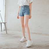 MUMU【P53154】腰部錯位設計水洗牛仔短褲