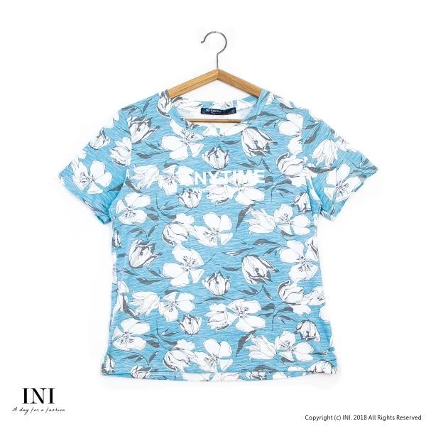 【INI】好感版型、好感版型設計花漾上衣.水藍色