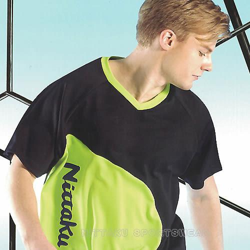 【日本名牌 Nittaku】男女運動休閒吸濕排汗短T恤-深藍螢綠#3772