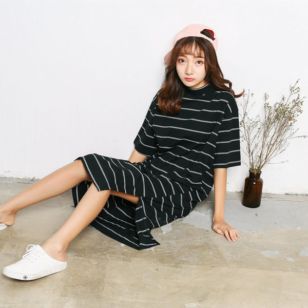 黑白條紋連衣裙長款條紋T恤修身短裙子女裝D813  &小咪的店&